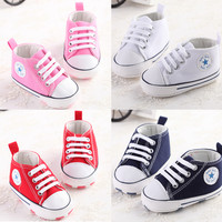 Newborn Baby Infant Toddler Classic Casual Fashion Sports Sneakers Baby Boys Girls First Walkers Shoes Crib Babe Soft Soled Shoe