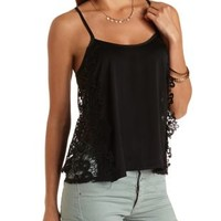 Crochet-Side Swing Tank Top by Charlotte Russe - Black