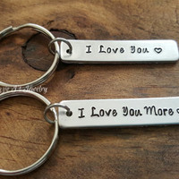 I Love You & I Love You More Keychain Set, Couples Her All His Only Keychains, Couples Accessories, Gift For Him, Gift For Her