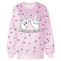 EAST KNITTING F1367 Girls New  Autumn Sweatshirts  Finger LOVE Heart Printed Sport Suit Tops Outerwear