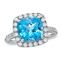 Cushion-Cut Blue Topaz and Lab-Created White Sapphire Ring in 10K White Gold with Diamond Accents