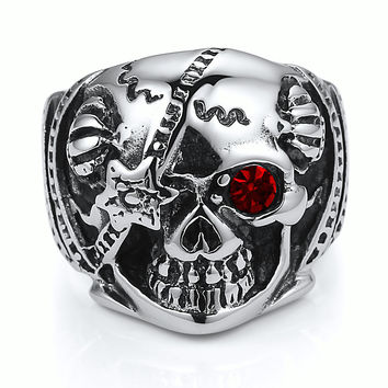 Stainless Steel Pirate Skull W. Red Crystal Eye Ring