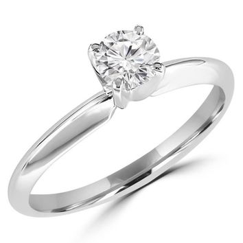 1/4 Carats Solitaire Diamond Engagement Ring GH/SI1-SI2 14K Yellow Gold & White Gold