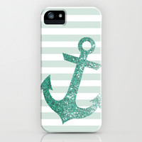MINT GLITTER ANCHOR iPhone & iPod Case by colorstudio