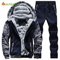 ACTIONCLUB Winter Jacket Mens 2PC Jacket+Pants Tracksuit Thick Inner Fleece Hoodie M-4XL Casual Active Coat Male Zipper Outwear