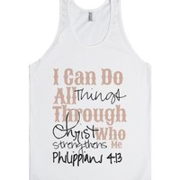 Philipians 4:13-Unisex White Tank