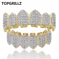 TOPGRILLZ Hip Hop GRILLZ Iced Out AAA Zircon Fang Mouth Teeth Grillz Caps Top & Bottom Grill Set Men Women Vampire Grills