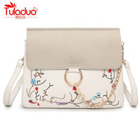 2017 Women Shoulder Bags Embroidery Women Crossbody Bags Small Floral Ladies Messenger Bags High Quality PU Leather Chains Bags