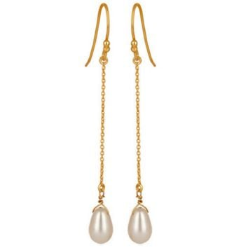 Freshwater Pearl Gold Vermeil Chain Dangle Earrings