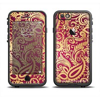 The Gold and Red Paisley Pattern Apple iPhone 6 LifeProof Fre Case Skin Set
