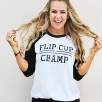 Flip Cup Champ Long Sleeve Top {Heather Black}