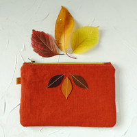 Linen Zipper Pouch - Autumn Color Terracotta Pouch with Leather Leafs -Organizer-Wallet, Clutch- Phone Case-Gift for Mom
