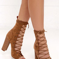 Chic Stride Tan Suede Lace-Up Booties