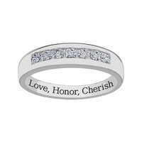 Sweet Sentiments Sterling Silver Cubic Zirconia Wedding Band - Men (White)