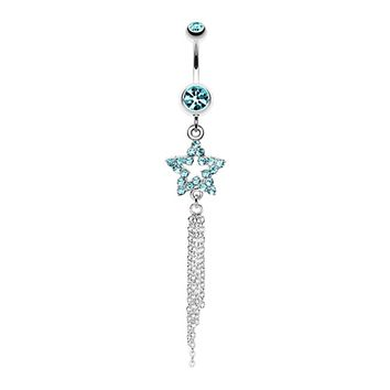 Star Sparkle Chain Drop Dangle Belly Button Ring