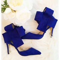Bradshaw bow heels - Royal blue bow high heels with above the ankle closure.