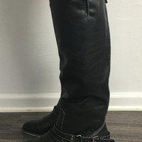 Outlaw Buckle Riding Boot, Black