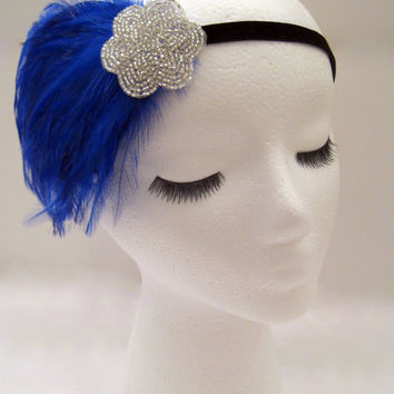The Lucille - blue Great Gatsby party headband, royal blue 1920s headpiece, blue feather hairpiece, silver blue deco accessories
