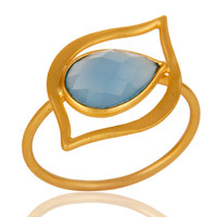 Art Deco 18K Gold Plated Sterling Silver Blue Chalcedony Designer Ring