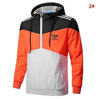 Adidas Fashion New Letter Leaf Print Contrast Color Sports Leisure Hooded Long Sleeve Windbreaker Coat Men 2#