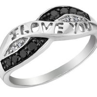White and Black Diamond I Love You Promise Ring 1/10 Carat (ctw) in Sterling Silver: Jewelry