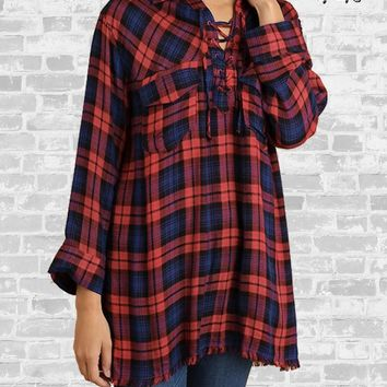 Plaid Lace Up Tunic - Red