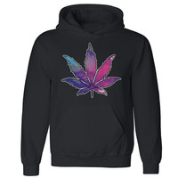 "Zexpa Apparelâ""¢ Galaxy Weed Leaf Unisex Hoodie Marijuana Leaf Weed Smokers Hooded Sweatshirt"