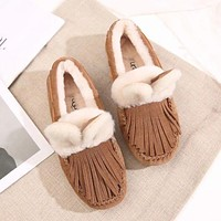 UGG Women Fashion Fur Tassels Flats Shoes
