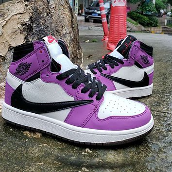 Onewel NIKE Barb Air Jordan 1 High OG TS SP basketball shoes white purple black hook