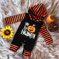 Newborn Infant Baby Boy Girl Pumpkin Hooded Romper Jumpsuit Clothes Outfits US