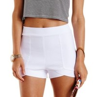 White High-Low High-Waisted Shorts by Charlotte Russe