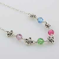 Family Birthstone Necklace, Floral with Sterling Silver Chain, Personalized Necklace, Choose Up to 12 Birthstones