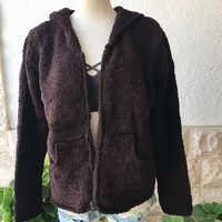 BRENDA FUZZY HOODED JACKET- DARK BROWN