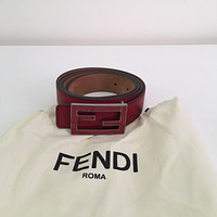 New Mens Fendi Red/Burgundy Belt Sz 105/42 100% Authentic or Money Back