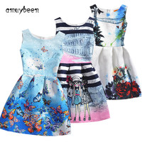 Summer Style Sleeveless Mother&kids Dress Girl Dress Printed Kids Dresses Girls Clothes Party Princess Dress White Nina