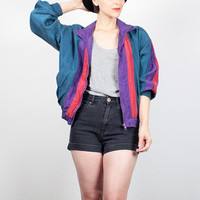 Vintage Silk Bomber Jacket 1980s Windbreaker Jacket Teal Green Purple Red Color Block 80s Track Jacket Oleg Cassini Sporty S Small M Medium