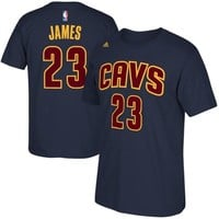 Mens Cleveland Cavaliers LeBron James adidas Navy Blue Net Number T-Shirt