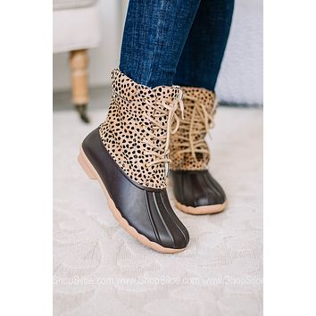 Laced Cheetah Print Duck Boots