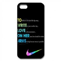 PC-Beauty To Write Love Black Print Hard Shell Cover Case for iPhone 5-Just Do It
