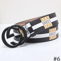 GUCCI tide brand wild men and women models double G buckle smooth buckle belt F-OM-NBPF #6