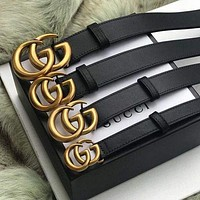 GUCCI  Fashion Smooth Pearl GG Letter Men Woman Buckle Leather Belt