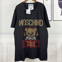 Moschino New fashion diamond letter bear couple top t-shirt Black