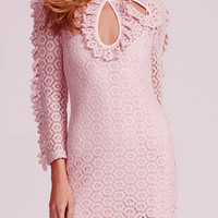 Pink Cut Out Front And Cami Lining Crochet Dress