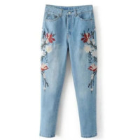 Fashion Flower embroidery light blue jeans pants