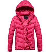 The North Face Fashion Print Women Sports Cotton Hoodie Coat Windbreaker Rose red