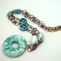 Jewelry, Chainmaille Necklace with Turquoise Stones, Chain Beaded Jewelry by Princess Tunacorn, READY to SHIP