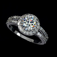 2ct Round Cut Cubic Zirconia with micro CZ Setting Engagement Ring