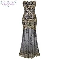 Angel-fashions Embroidery Vintage Sequin Gatsby 20'S Gold Flapper Evening Dress 042
