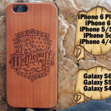 Hufflepuff, iPhone 6/6+ 5/5s/5c 4/4s, Samsung S6 S5 S4, Laser Engraved Genuine Wood Case, Harry Potter