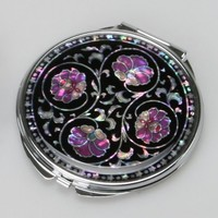 Mother of Pearl Purple Flower Black Double Compact Handbag Purse Makeup Cosmetic Pocket Hand Mirror, 3.2 Ounce